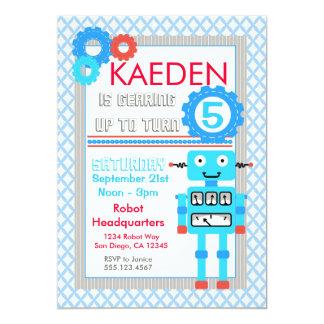 Blue Robot Birthday Invitation Modern Boys