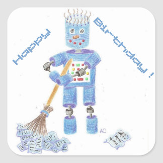 Blue robot birthday stickers