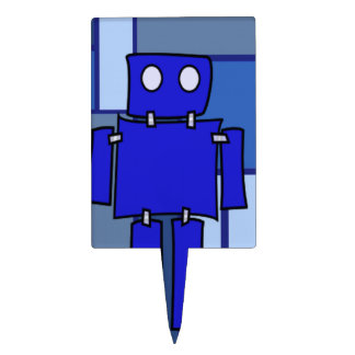 Blue Robot Cake Topper