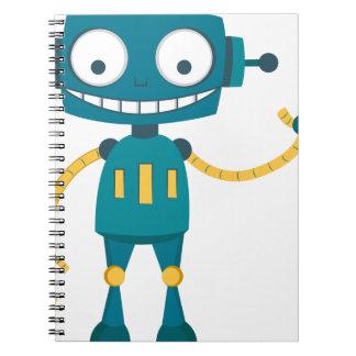 Blue Robot Cartoon Notebook