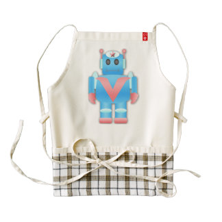 Blue robot cartoon zazzle HEART apron