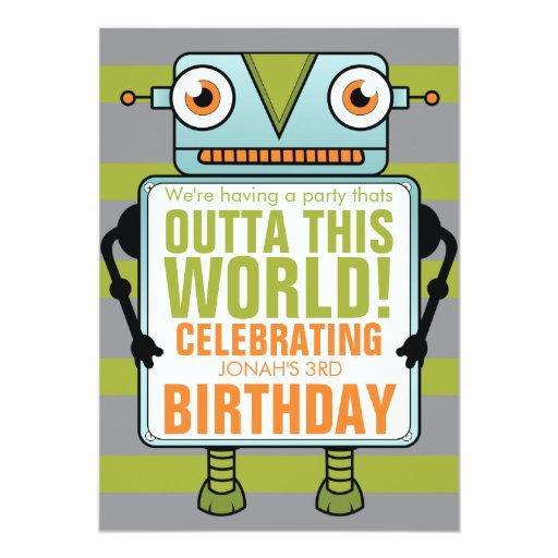 "Blue Robot Childs Birthday Party Invitation 5"" X 7"" Invitation Card"