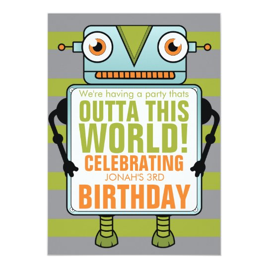 Blue Robot Childs Birthday Party Invitation