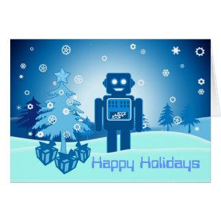 Blue Robot Chritsmas Card