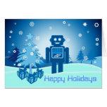 Blue Robot Chritsmas Greeting Card
