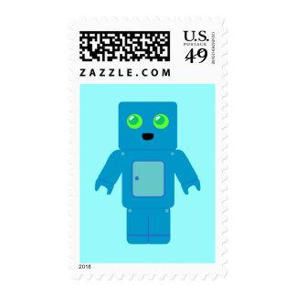 Blue Robot Postage Stamp