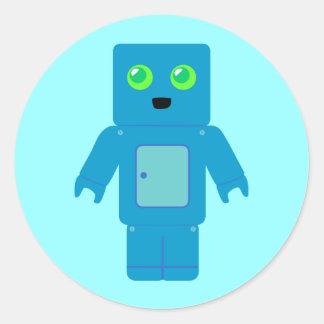 Blue Robot Round Sticker