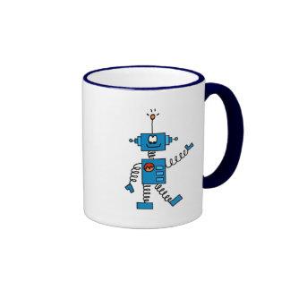 Blue Robot Tshirts and Gifts Ringer Coffee Mug