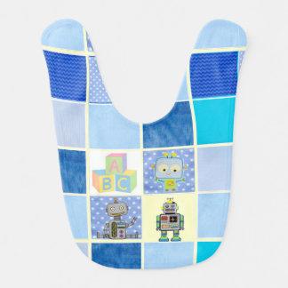 Blue Robots and Polka Dots Baby Bib