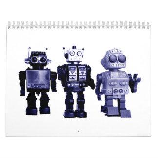 blue robots calendar