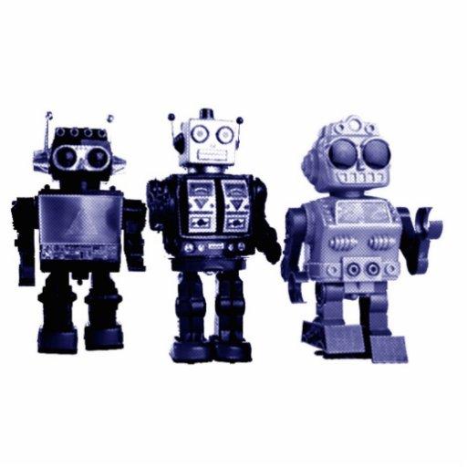 blue robots photo sculpture