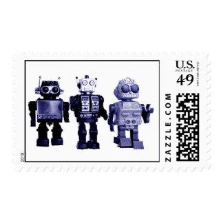 blue robots stamp