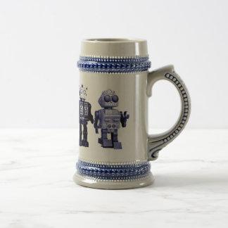 blue robots stein 18 oz beer stein