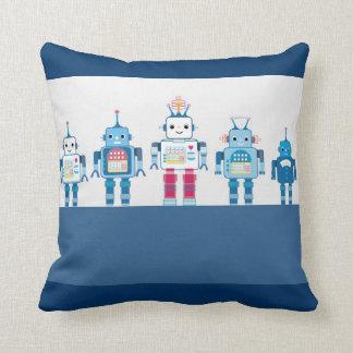 Blue Robots Tech Geek Decorative Throw Pillows