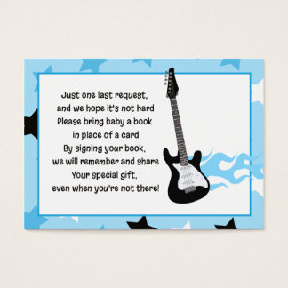 Blue Rock Star Baby Shower Book Request Cards