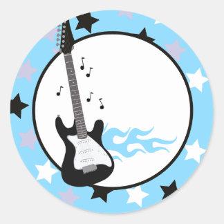 BLUE ROCK STAR GUITAR Envelope Seals Classic Round Sticker