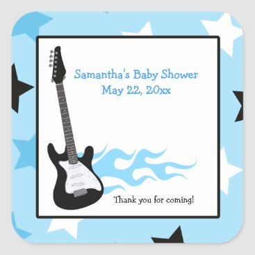 Blue Rock Star Guitar SQUARE Favor Sticker
