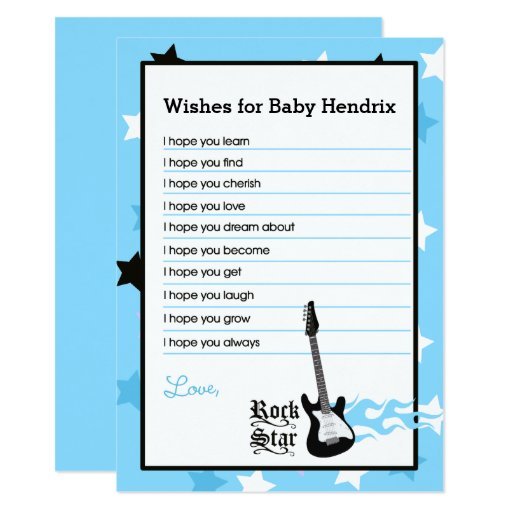 Blue Rock Star Wishes For Baby Advice Cards