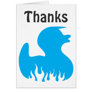 Blue Rockabilly Duck Thanks Cards