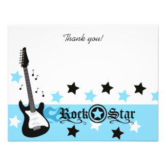 Blue Rocker Rock Star 4x5 Flat Thank you note Personalized Announcement