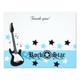 "Blue Rocker Rock Star 4x5 Flat Thank you note 4.25"" X 5.5"" Invitation Card"
