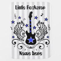 Blue rocker star guitar with wings custom swaddle blanket