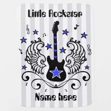 Toddler & Baby themed Blue rocker star guitar with wings custom swaddle blanket