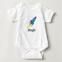 Blue Rocket Ship Outer Space Personalized Boy Cute Baby Bodysuit