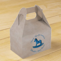 Blue Rocking Horse Baby Boy Custom Favor Box