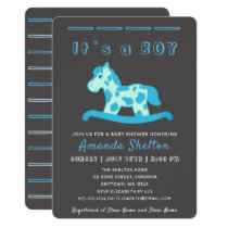 Blue Rocking Horse Baby Boy Shower Invitation