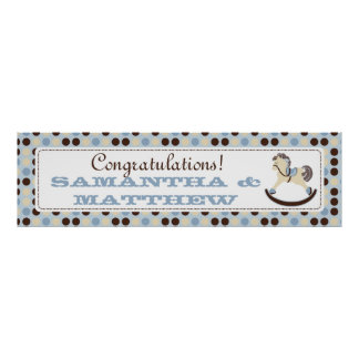 Blue Rocking Horse Baby Shower Banner Posters