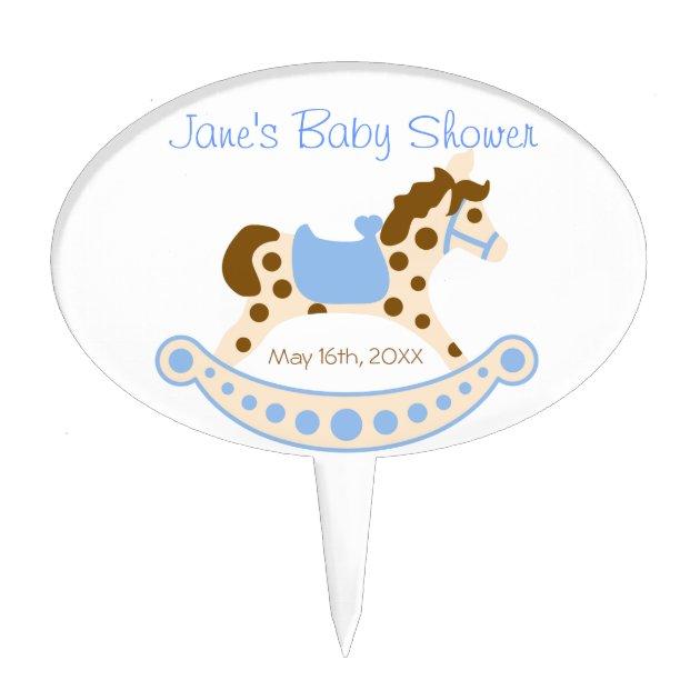Blue Rocking Horse Baby Shower Cake Pick Zazzle Com