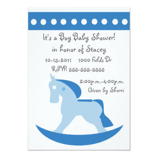 Blue Rocking Horse Baby Shower Invitation