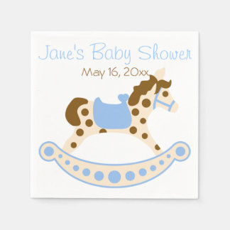 Blue Rocking Horse Baby Shower Napkins