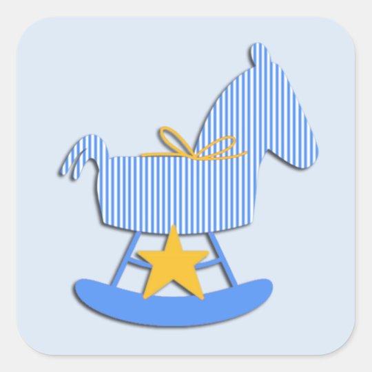 Blue Rocking Horse Baby Sticker