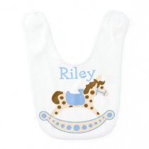 Blue Rocking Horse Bib