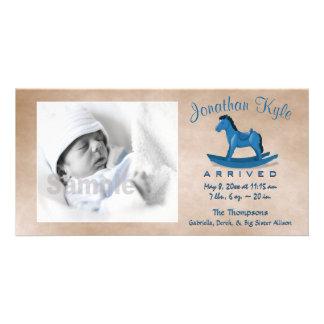 Blue Rocking Horse Birth Announcement