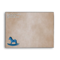 Blue Rocking Horse Custom Envelope