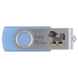 Blue Rocking Horse Custom Swivel USB Drive Swivel USB 2.0 Flash Drive