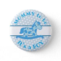 Blue Rocking Horse It`s a Boy Baby Shower Button