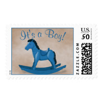 Blue Rocking Horse IT'S A BOY! Postage