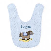 Blue Rocking Horse Reversible, Personalized Baby Bib