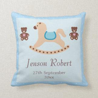 Blue Rocking Horse Teddies New Baby Throw Pillows