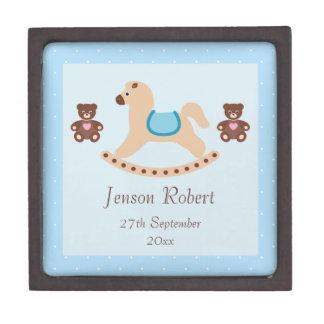 Blue Rocking Horse & Teddies New Baby Premium Keepsake Boxes
