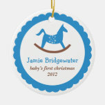 Blue rocking toy horse baby's first christmas christmas tree ornaments