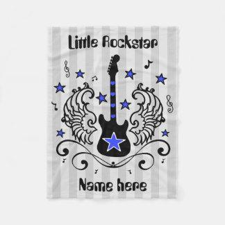 Blue Rockstar guitar with wings Fleece Blanket