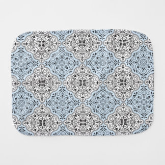 Blue Rococo Pattern Flourish Burp Cloth