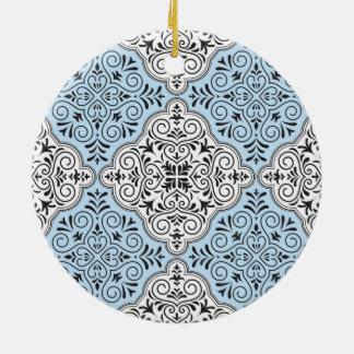 Blue Rococo Pattern Flourish Ceramic Ornament