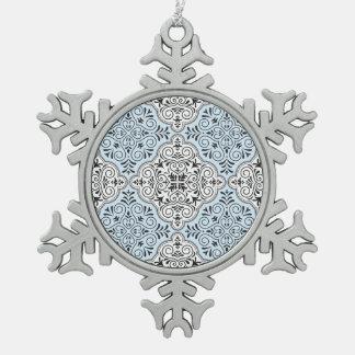 Blue Rococo Pattern Flourish Snowflake Pewter Christmas Ornament