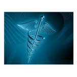 Blue Rod of Asclepius Postcard